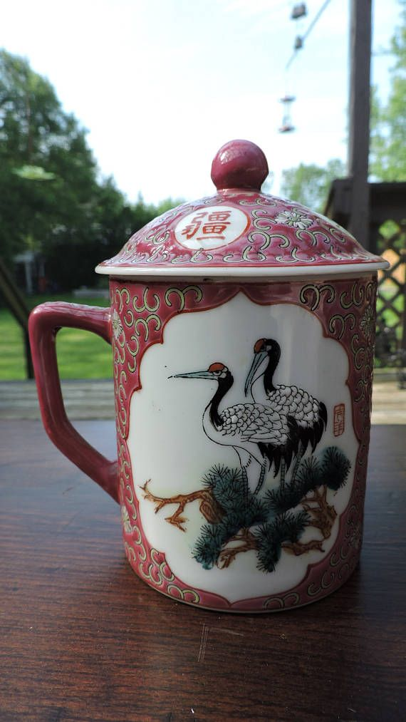 Famille Rose Chinese Cranes Cloisonne Style Mug with Lid
