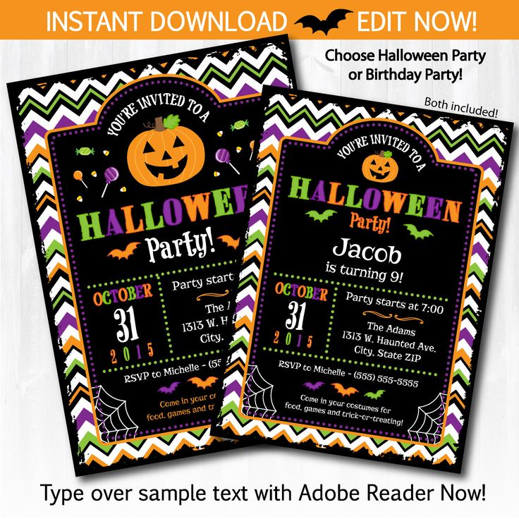 Halloween Invitations - DIY Instantly Downloadable and EDITABLE File!! Personalize with Adobe Reader Now! Halloween Party Supplies by SugarShebang on Etsy https://www.etsy.com/listing/245567798/halloween-invitations-diy-instantly