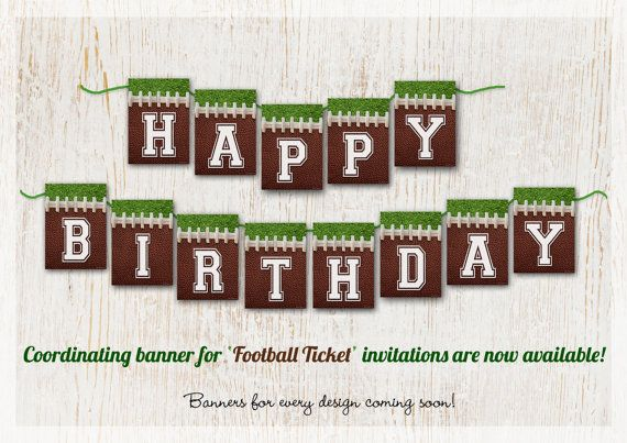 FOOTBALL Banner  Happy Birthday  Fully Assembled by Mae of www.customaed.com, $19.00