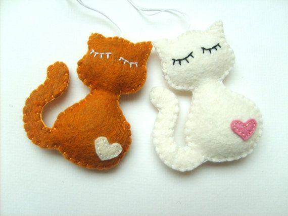 Felt cat ornament Christmas kitty home decor gift idea for her Baby shower wool feltro filz filc black white brown grey orange eco friendly