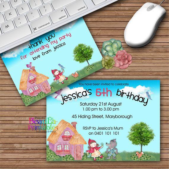 Birthday Party Invitations Red Riding Hood Invitation Thank