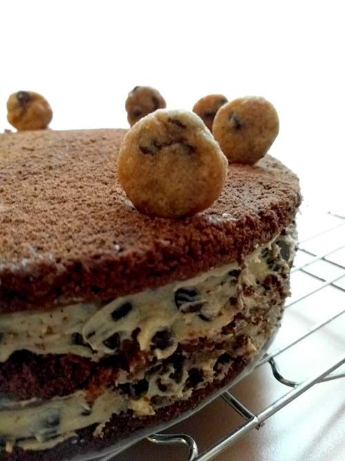 Torta de brownie y masa de chocolate chip cookies. Una bomba deliciosa!