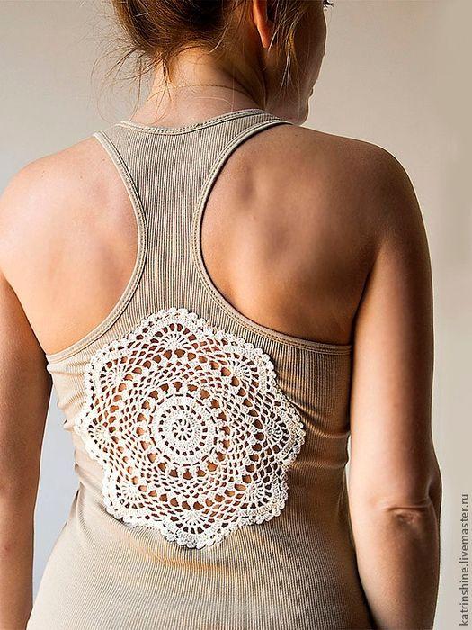 Crochetemoda: Tank with details in Crochet