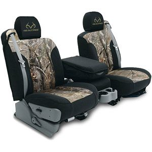 MODA by Coverking Designer Custom Realtree Camo Seat Covers $150 Custom-fit means you select your specific vehicle and type of row you are covering (bench, buckets, 60/40 split, headrests, armrests, etc)