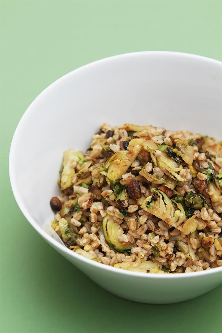 Farro with pan-roasted Brussels sprouts and pistachios #recipe