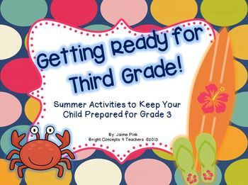 Getting Ready for Third Grade! This is a summer packet of review skills to keep your students ready for third grade. It covers language arts, writing and math skills all aligned to the common core standards $