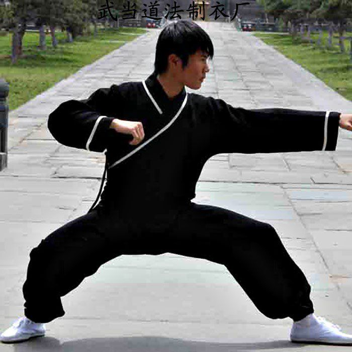 Black Hemp and Linen Wudang Kung Fu Uniform with White Outerlines, Cuffs for Men and Women via Asia-Sale Best Tai Chi, Kung Fu Clothing