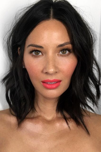Olivia Munn cut a foot off her long locks to score this look — a rad, choppy bob that is as versatile as it is chic.  #refinery29 http://www.refinery29.com/2017-hairstyle-trends#slide-13