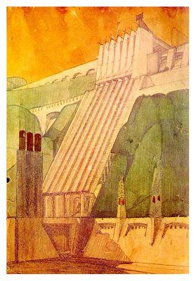 FUTURISMO ANTONIO SAINT ELLIÀ CENTRAL ELECTRICA Sus diseños representan una serie de rascacielos monolíticos con grandes terrazas, puentes y pasarelas aéreas que encarnaba la pura emoción de la arquitectura moderna y la tecnología de los nuevos materiales.