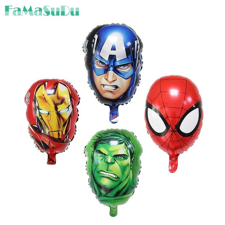 5pcs/lot The Avengers foil balloons super hero baby toys hulk Captain America superman batman Iron man spider-man helium balloon #Affiliate