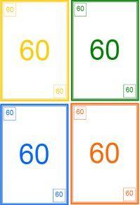 Uno des nombres de 60 à 99 pour mémoriser leurs noms.