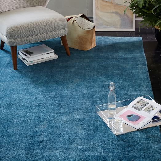 West Elm hand Loomed Shine rug-- small size to put under the chairs in the living room