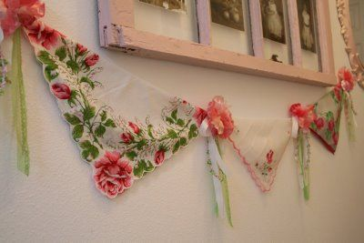 hankie bunting - great idea! I have a lot of vintage hankies from my mom and grammy.