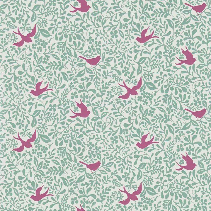 Sanderson Papavera Wallpaper Collection Larksong in Slate / Berry wallpaperdirect
