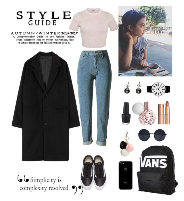 """Winter Coat"" by evaskar on Polyvore featuring Vans, GUESS, Charlotte Tilbury, OPI, Rosendahl, Black and Cushnie Et Ochs"