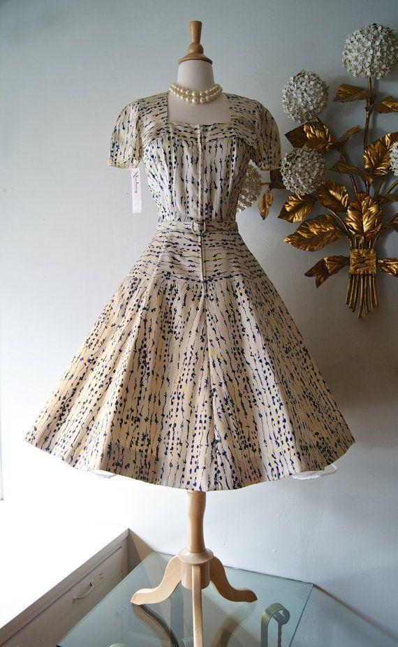 9150's Silk Print Dress