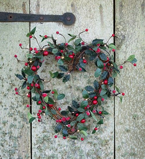 From sarah raven · our heart wreath with lights is dotted with berries and warm white leds looks great