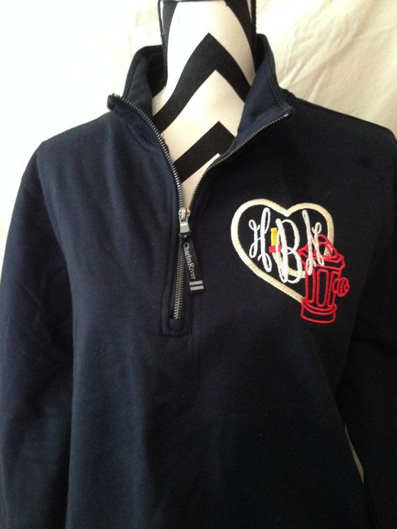 Adult monogrammed Firefighter 1/4 Zip by TheSouthernStitchNC