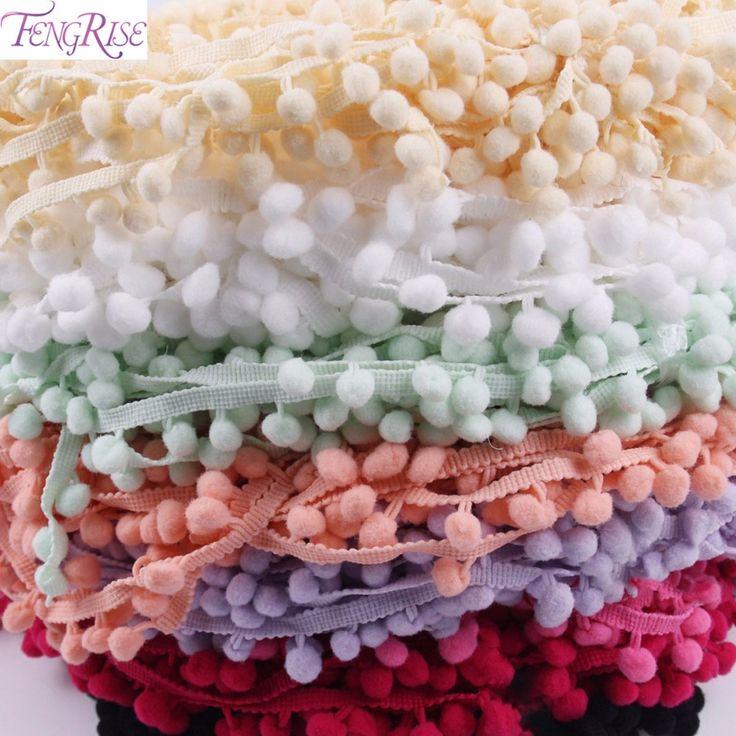 FENGRISE Lace Fabric 5 yard 1cm Sewing Accessories Pompom Trim Pom Pom Decoration Tassel Ball Fringe Ribbon DIY Material Apparel -  http://mixre.com/fengrise-lace-fabric-5-yard-1cm-sewing-accessories-pompom-trim-pom-pom-decoration-tassel-ball-fringe-ribbon-diy-material-apparel/  #Lace