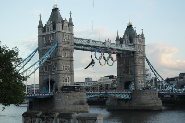 The Olympic Flame reaches London in style with help from the Royal Navy's Commando Helicopter Force.