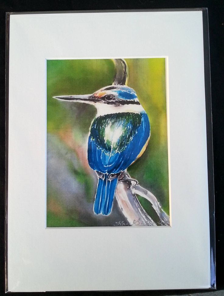 KINGFISHER New Zealand Print, Bird Art Print from Silk Painting, Fine Art Print, Decor Lounge Wall Art A4 size, 21 x 14cm, A5 with Mat Board by KaySatherleyArt on Etsy