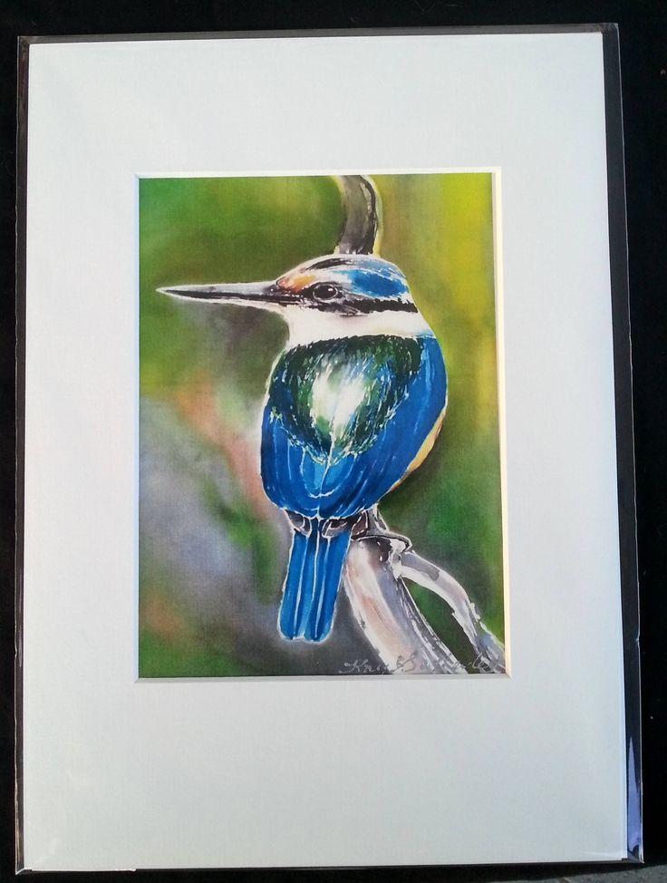 KINGFISHER New Zealand Print, Bird Art Print from Silk Painting, Fine Art Print, Decor Lounge Wall Art A4 size, 21 x 14cm, A5 with Mat Board by KaySatherleyArt on Etsy