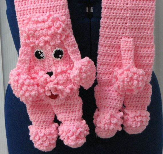 Pink Poodle Crochet Scarf Finished Item by DonnasCrochetDesigns, $35.00