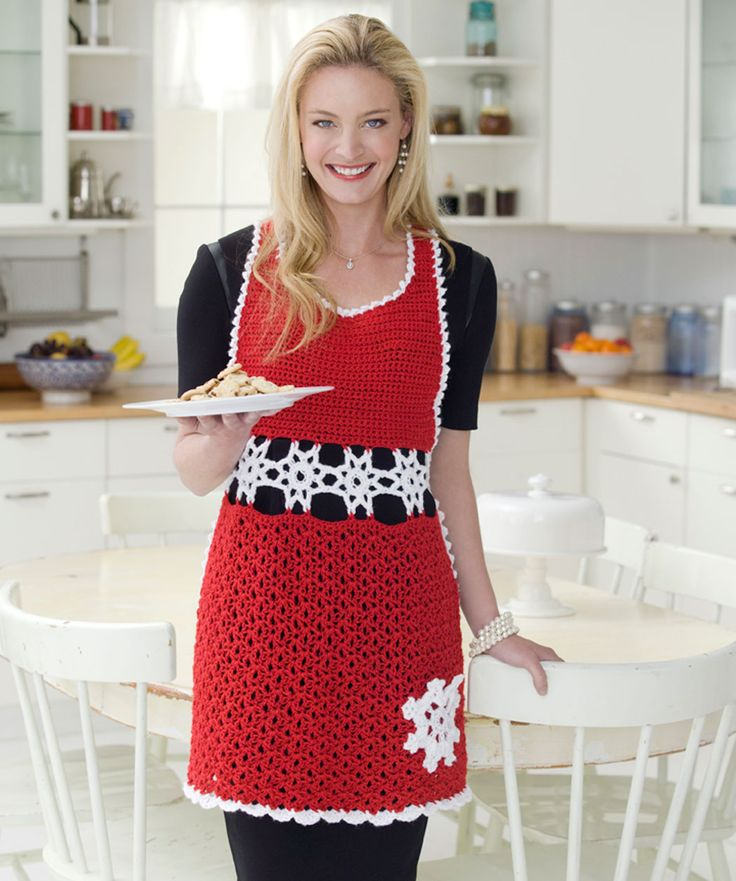 Snowflake Hostess Apron Crochet Pattern by Red Heart yarns  #Christmas