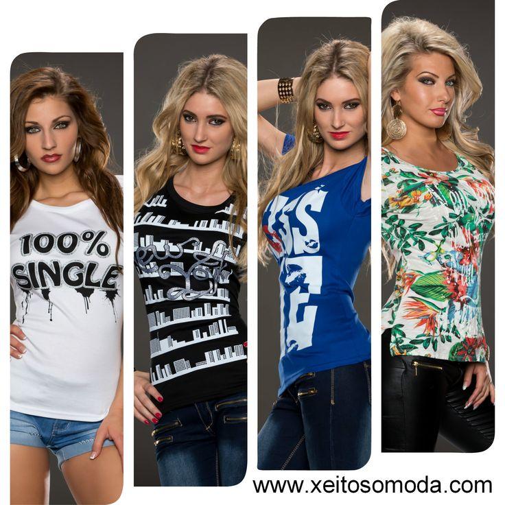 Compra de camisetas economicas para chicas. Tienda online en España www.xeitosomoda.com