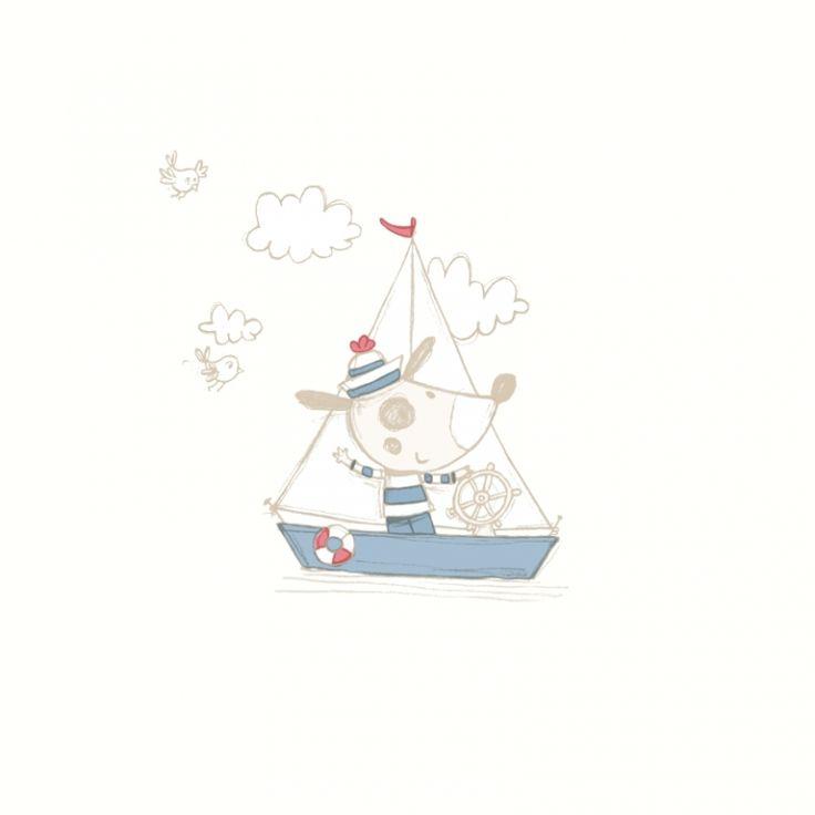 Unique Dutch Wallcoverings Babyzimmer Tapete uCruising dog u cremewei blau rot bei Fantasyroom online kaufen