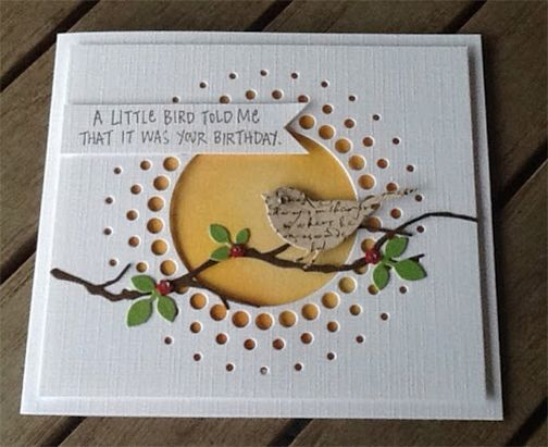 Sep 15, 2014 By Scrapbooking 24/7: A Little Bird Told Me (Stampin' Up! Hello Love), Memory Box Circle Burst die