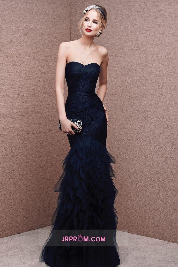 Sweetheart Ruffled Bodice Evening Dresses Dark Navy Tulle Floor Length Mermaid Item Code:#JRP66HB495