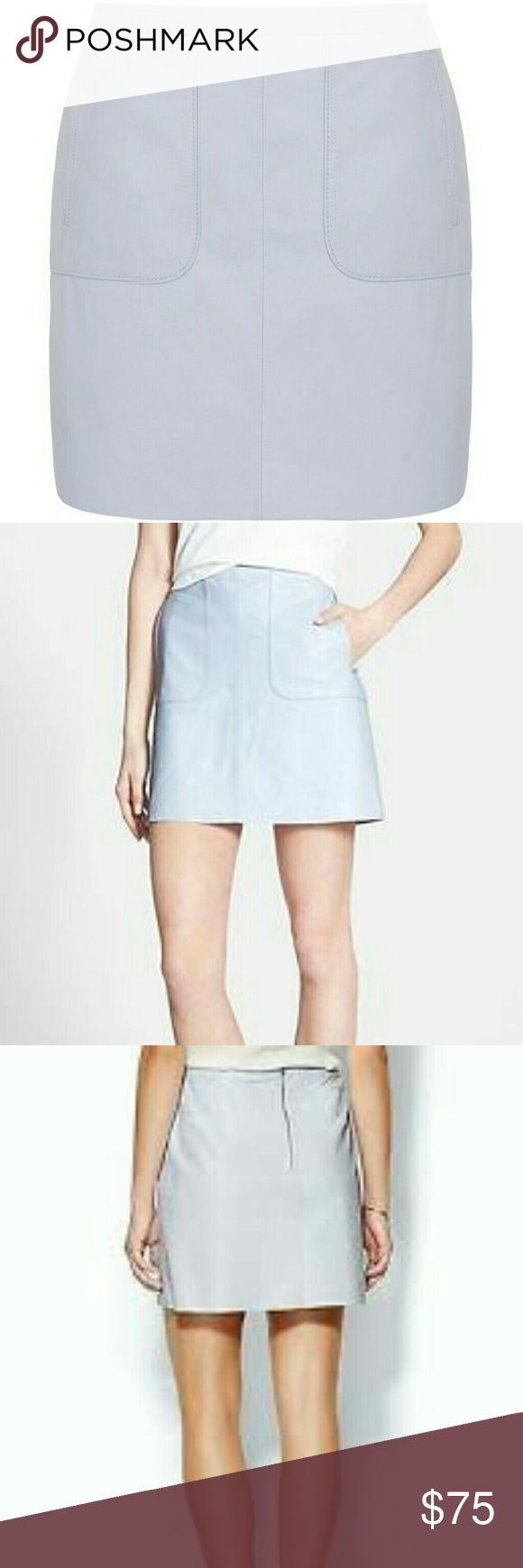 "🆕French Connection soft leather mini skirt French Connection natural leather mini skirt, color is Dew Blue. Two front pockets, back zipper closure, lined. Very soft and pleasant leather. Size 8 Approx measurements laying flat: waist 16"", length 17"". French Connection Skirts Mini"