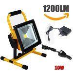 Nestling Flood light: 10W Projecteur LED Portable, 360 ° de rotation, up and down renversement, imperméable IP65 Haute lumière: 10W COB LED…