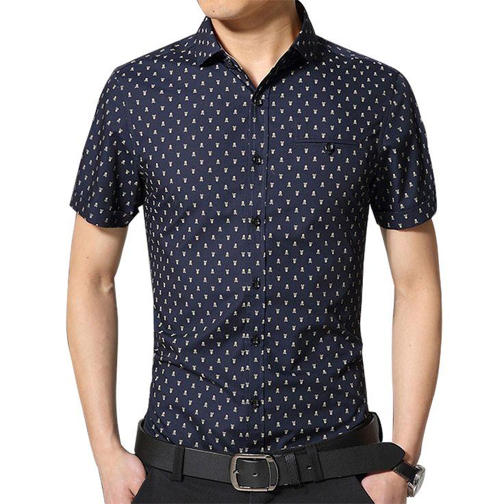 2015 Summer Style hommes Shirt Homme Floral manches courtes Chemise Chemise rayée hommes Chemise Homme Camisa sociale Masculina gros dans Chemises Décontractées de Accessoires et vêtements pour hommes sur AliExpress.com | Alibaba Group