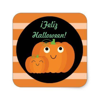 """""""Feliz Halloween"""" Cute Sticker with Pumpkins - kids stickers gift idea diy decor birthday sticker children christmas gifts presents"""