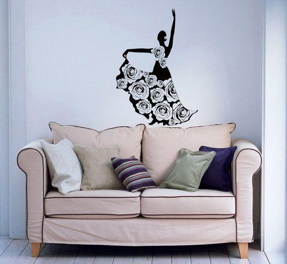 Girl Dancing Flamenco Rose Dress Wall Vinyl Decal Stylish Sticker Housewares Art Design Murals Interior Decor Home Dance Studio SV5154