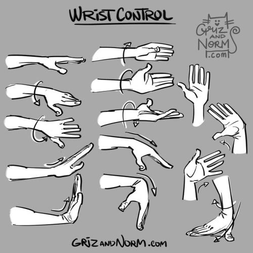 Tuesday Tip - Wrist Control An expressive hand gesture can be the exclamation point to a nice pose or gesture. We tend to forget how much mobility can be achieved through the wrist. Here's a reminder of a few different ways the wrist can bend and twist, allowing for even more expressive poses. -norm