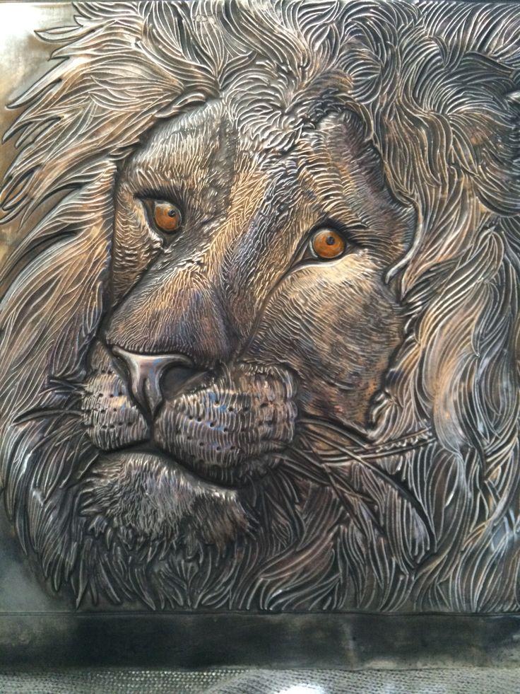 Pewter Lion By Kathy Harris Pewter Art Aluminum Foil