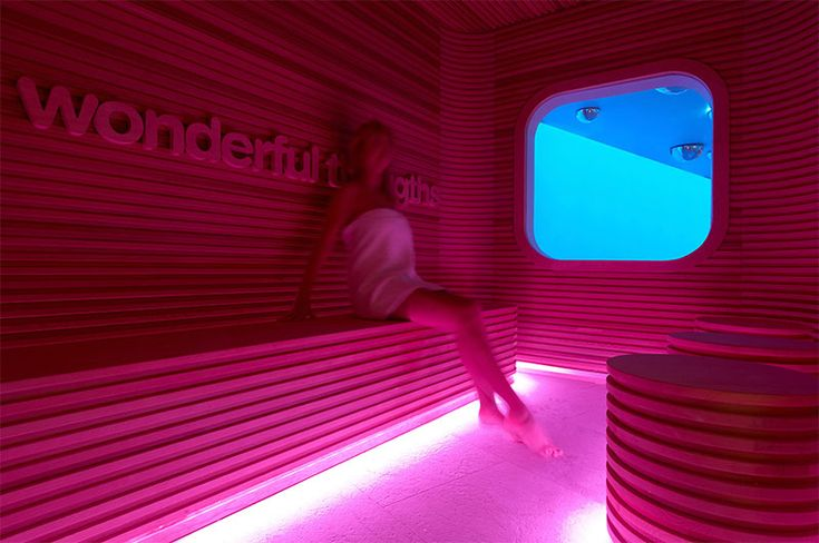 10 Examples Of Monochromatic Interiors // This all pink sauna at the Atomic Spa Suisse in Milan.