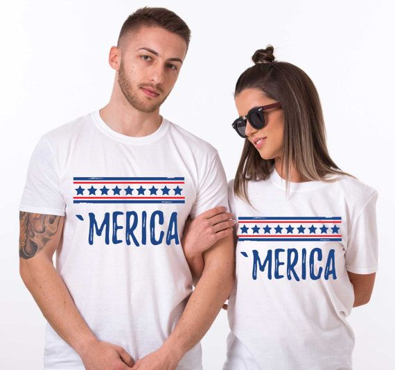 Merica shirt,Merica shirts, 4th of July, 4th of July shirt women, 4th of July outfit, Matching shirts, fourth of July, Set of TWO, UNISEX