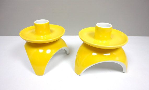 Mod Yellow Candle Holders by ThriftScore on Etsy, $22.00