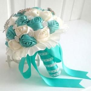 Tiffany Blue Silk Satin Ceremony Rose Bridal Posy Wedding Bouquet Crystal Beaded | eBay