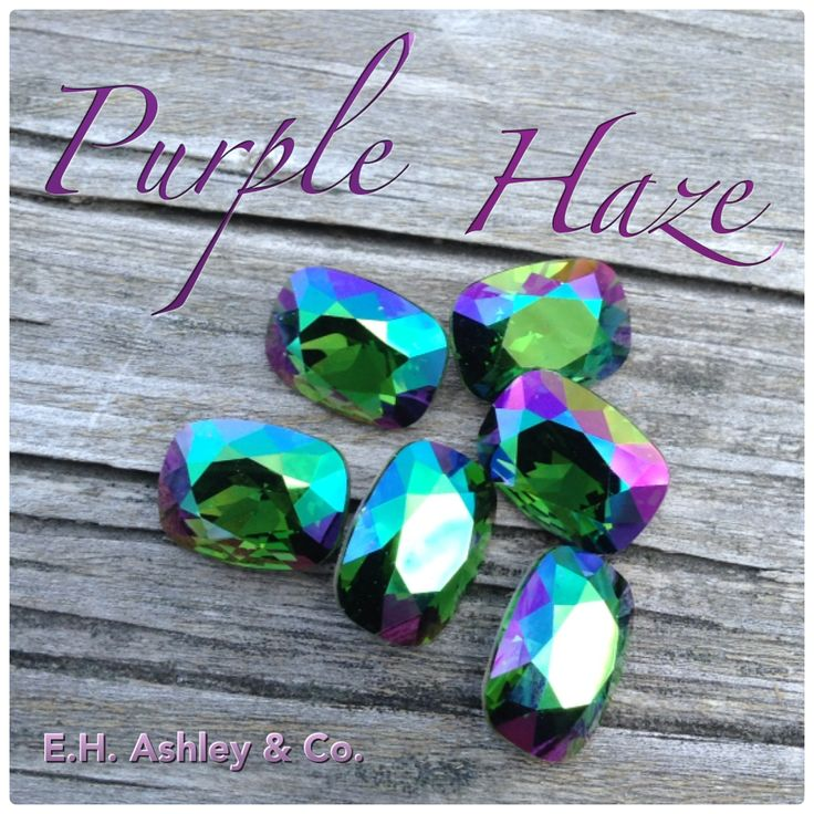 "E.H. Ashley's custom coating ""Purple Haze"" applied to SWAROVSKI ELEMENTS ""Dark Moss Green"" as seen on 4568 14/10 www.ehashley.com #purplehaze #customcoating #Swarovski #green"
