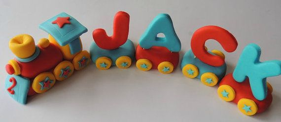 Fondant Edible Train Cake Topper by YummyToppers on Etsy, $42.99