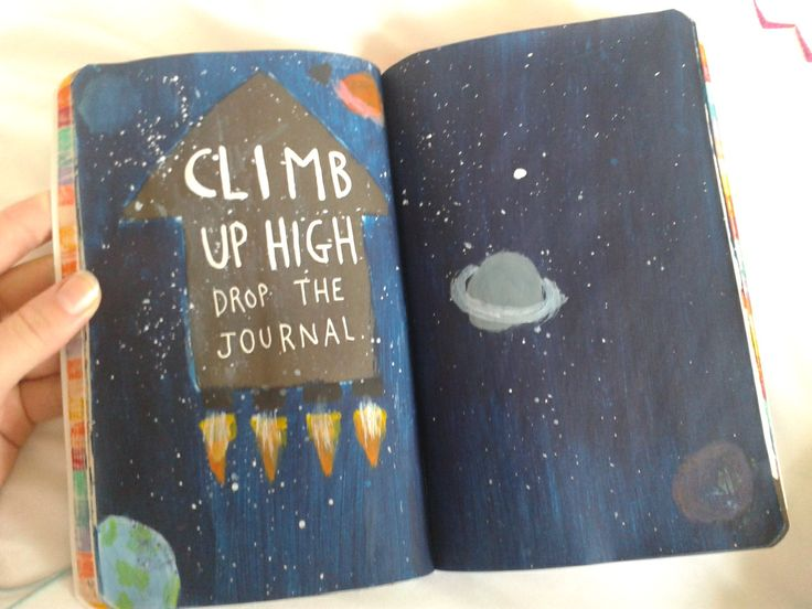 Wreck This Journal Inspiration - I am definitely gonna do galaxy print on this page many with a few bigger stars or even planets (1)