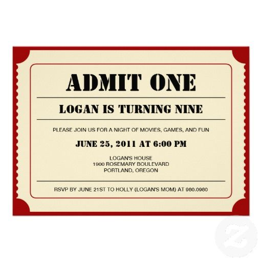 16 best Movie Birthday Party Invitations images on Pinterest - movie ticket invitations template