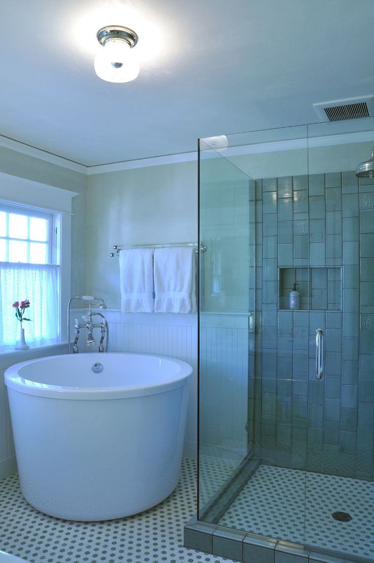 Japanese soaking tub in master bathroom for recent remodel project. One of my favorite bathrooms