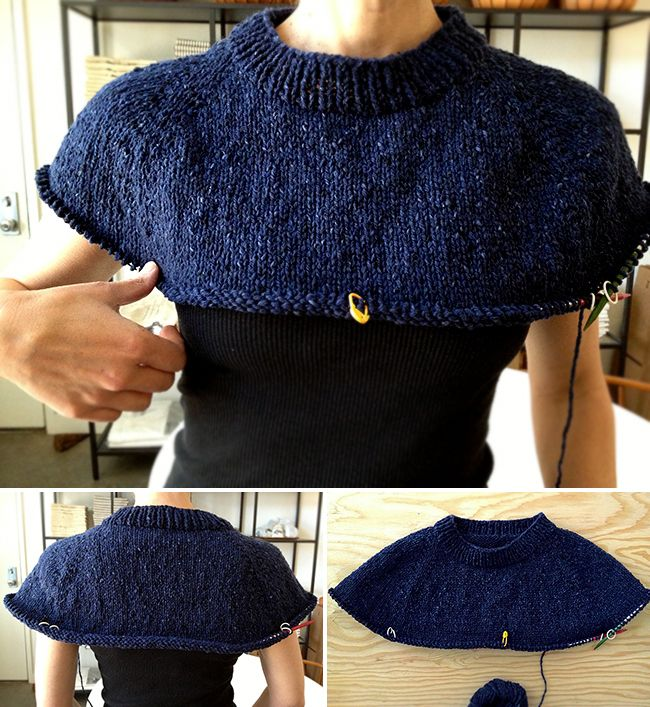 How to improvise a top-down sweater, Part 3: Raglans and neck shaping; finished yoke for top-down sweater, pt. 3