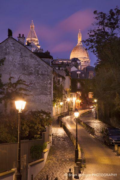 Montmartre at twilight, Paris France